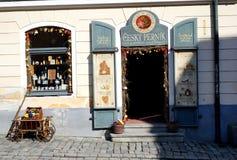 Český Krumlov city. Shop doors and windows in Český Krumlov city stock photography