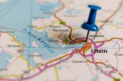 Ä°zmir на карте стоковое изображение rf