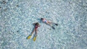 两个年轻女人潜水者在异乎寻常的海岛附近探索海底,敬佩海洋生物,伟大的休闲目的地, 影视素材