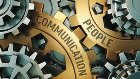 两个金黄钝齿轮特写镜头视图有词的:人通信,企业概念 齿轮机构 3d例证 向量例证