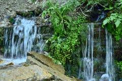 两小瀑布在深森林里 库存照片