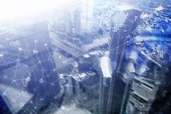 两次曝光混合画法 图、象和联系结构在全息图屏幕上 商人和现代城市 向量例证