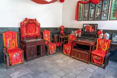 Wedding rooms in China in the past stock image