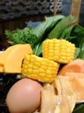中国火锅菜和鸡蛋 库存图片