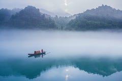 中国风 山水景色 渔船Chinese wind landscape scenery fishing Royalty Free Stock Photo