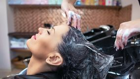 中等享受haircare做法的特写镜头微笑的客户年轻女人在理发店发廊 股票录像
