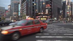 东京,日本- 2019年2月5日:东京银座地区都市风景 夜间业务量 股票视频