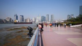 上海,中国- 2月 24日2019年:从浦东Bingjiang公园观看的上海障壁,摩天大楼有天空蔚蓝背景 股票录像