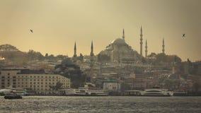 与伊斯坦布尔土耳其老历史大厦wiews的海景有Suleymaniye清真寺的在日落的光束 慢 股票视频