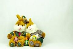 与可爱的女孩和男孩兔宝宝小雕象的复活节装饰 库存照片