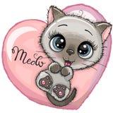 与大眼睛的逗人喜爱的动画片小猫 向量例证