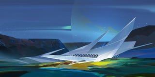 与建筑学的被绘的明亮的意想不到的山风景 向量例证