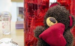 与心脏的玩具熊在玻璃红色瓶背景  库存照片