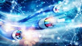 与光纤的互联网连接 快速的互联网的概念 免版税图库摄影
