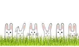 与兔宝宝面孔和草的愉快的复活节横幅 兔子边界或贺卡 向量 皇族释放例证