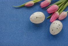 与桃红色郁金香和鸡蛋的复活节背景在与拷贝空间的绿色闪烁背景 免版税库存图片