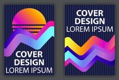 与液体波浪和五颜六色的梯度的封面设计海报 Synthwave,未来主义背景 Retrowave 向量 皇族释放例证