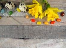 与春天装饰的鹌鹑蛋的与水仙/黄水仙的复活节在木背景 免版税库存图片