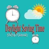 与时钟和太阳的夏时制 免版税图库摄影