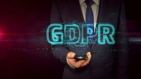 与智能手机和gdpr全息图概念的商人 股票视频