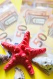 与红色和白色seasheels的50欧元bancnotes在黄色背景 免版税库存图片
