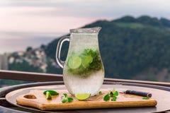 与石灰和薄菏的鸡尾酒在大阳台的一个水罐 库存照片
