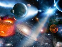 与燃烧的太阳的令人惊讶的幻想概念在满天星斗的背景 向量例证