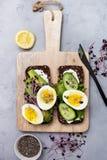 与菜和鸡蛋的健康早餐三明治 图库摄影