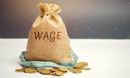 与词薪水和卷尺的金钱袋子 工资削减 有限的赢利的概念 缺钱和贫穷 小收入 图库摄影