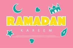 与贴纸的斋月kareem招呼的背景 新月形月亮、清真寺、星、灯笼和爱 库存图片