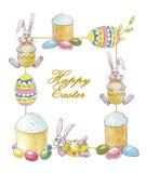 与题字复活节快乐的复活节框架用一个兔子、蛋糕和装饰的鸡蛋在白色背景 向量例证
