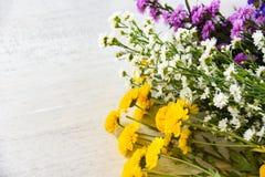 与黄色妈咪,延命菊紫色和白色切削刀花的花束新春天五颜六色的花 免版税库存图片