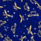与闪烁的特征模式的金黄闪闪发光首饰蝴蝶昆虫飞行在广告促进或季节性 向量例证