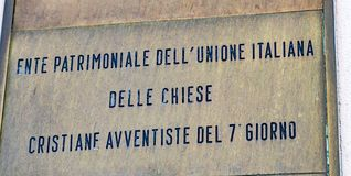 七日基督再临论教会的意大利物产当局 免版税库存照片
