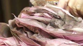 专业高档时尚 美发师在气刷和油漆帮助下生成一个模型的图象在衣裳的 股票录像