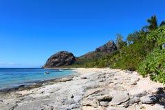 一个海滩在一个热带海岛,斐济 图库摄影