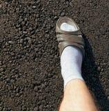 一个男孩的脚一条新的柏油路的 库存照片