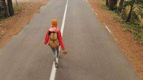 一个黄色帽子和葡萄酒背包的一个年轻亭亭玉立的女孩沿一条柏油路走以具球果秋天的黄色 股票视频