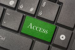 一台现代计算机的键盘通入按钮的特写镜头图片  免版税库存照片