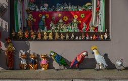 一家玩具商店在奥地利的Hallstatt村庄 库存图片