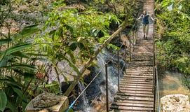 一座吊桥的妇女在巴拉圭的雨林的瀑布 免版税图库摄影