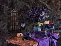 一束黑暗的葡萄、桃子和一杯年轻酒 静物画 在纸的绘的湿水彩 天真艺术 抽象派 免版税库存照片