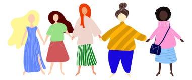 一起站立和握手的愉快的妇女或女孩 小组女性朋友,男女平等主义者联合,妇女团体 皇族释放例证