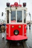 一辆电车在塔克西姆广场,伊斯坦布尔,土耳其 库存照片