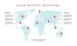 世界地图infographic市场的事务 库存例证