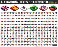世界的所有国旗 等量顶面设计 向量 皇族释放例证