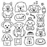 乱画套逗人喜爱的狗不同的品种 小狗汇集的用手得出的例证 动物剪影在简单的 库存例证