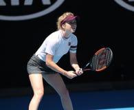 乌克兰的职业网球球员艾丽娜Svitolina行动的在她的在2019年澳网的四分之一决赛比赛期间在墨尔本 图库摄影