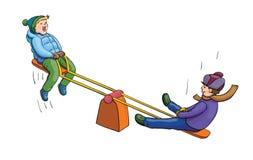 乘坐跷跷板的动画片男孩在公园在白色背景 向量图形例证 免版税库存图片