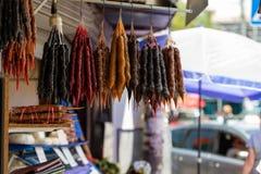乔治亚,第比利斯,中部城市市场 从坚果和葡萄汁的地方纤巧 库存图片